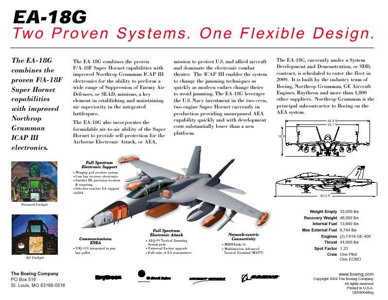 Next-Generation AEA System for the 21 st Century Capability Value Low Risk The EA-18G combines the combat proven two-seat, twin-engine F/A-18F Super Hornet with the EA-6B Improved Capability III