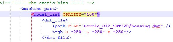 "All machine parts, that are included in such <model_list OPACITY=""10""> have the same transparency."