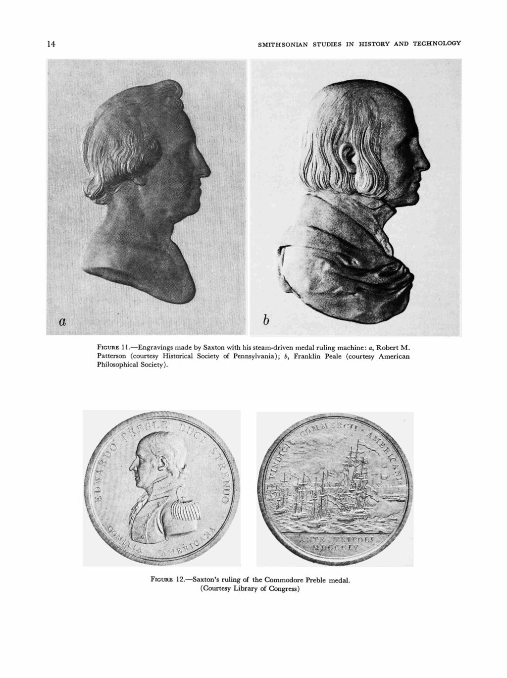 14 SMITHSONIAN STUDIES IN HISTORY AND TECHNOLOGY a FIGURE 11. Engravings made by Saxton with his steam-driven medal ruling machine: a, Robert M.