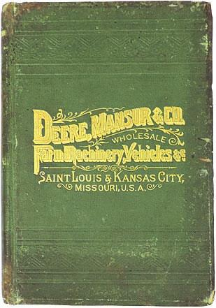 "5""W at base. (Brochures shown for sale in other lots.) Sold for $3,000. Deere, Mansur & Co. Wholesale Farm Machinery & Vehicles catalog, 1st Ed."
