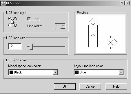 1-16 AutoCAD LT 2007 Tutorial Changing to the 2D UCS Icon Display In AutoCAD LT 2007, the UCS icon is displayed in