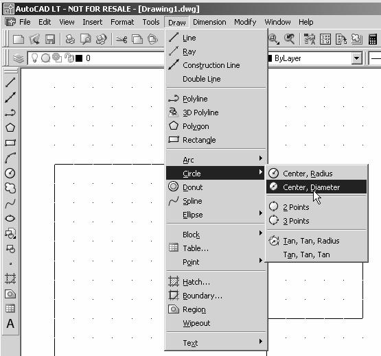 1-22 AutoCAD LT 2007 Tutorial Creating Circles The menus and toolbars in AutoCAD LT 2007 are designed to allow the CAD operators select the different Draw commands through the pull-down menus.