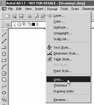 In the pull-down menus, select: [Format] [Units] 2. In the Drawing Units dialog box, set the Length Type to Decimal.