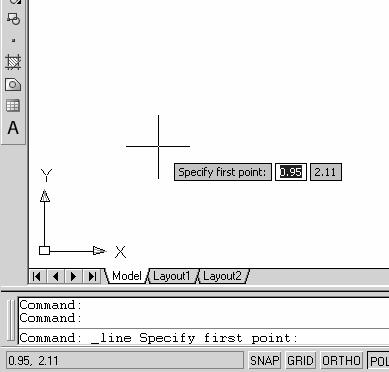 1-8 AutoCAD LT 2007 Tutorial 7. We will start at a location near the bottom of the graphics window. will be point 1 of our sketch. cursor, which are dynamically 8.