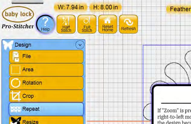 Design Size File Name Needle Position Toolbar The toolbar at the top of the screen contains several commonly used functions that are helpful when using the Pro-Stitcher (Figure 4.12). Figure 4.