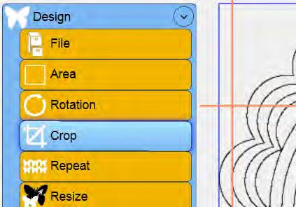 Select the Design menu and press the Crop submenu button (Figure 5.42). If the Crop panel buttons (Figure 5.