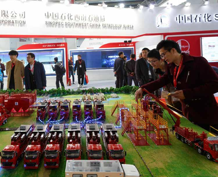 Sinopec Group Sinopec Exhibition Group, covering an area of 1,500 m 2, has displayed Sinopec Shale Gas Exploration and Development Model, multi-media interaction system, electrical fracturing skid,