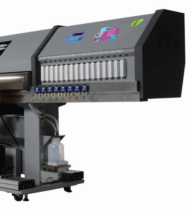 Speed / Performance Spitfire 100 Extreme allows a top speed of 81 m²/h. With the i² 360 dpi mode, production work on uncoated vinyl, banner and soft signage materials is delivered at 42 m²/h.
