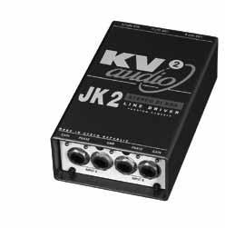 "JK2 Features JK2 - part number KVV 987 217 JK2 - Stereo DI BOX - Line Driver The JK2 features two 1/4"" jack inputs with parallel monitor outputs as well as RCA inputs."