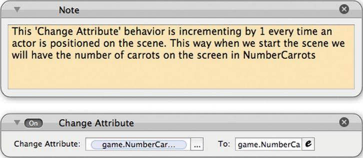 134 CHAPTER 5: Making a Shoot-Em Up: Carrot Invader Click the Attribute tab in the inspector in Scene Editor mode. Then click the + sign to create a new attribute and select integer.