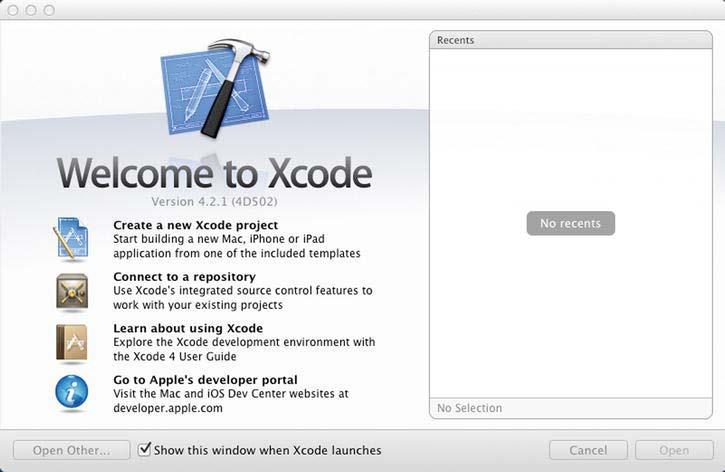 CHAPTER 1: Preparing the Design Environment 17 Once the installation is complete, the Xcode Welcome page will display, as shown in Figure 1-14. An Xcode icon will be added automatically to the dock.
