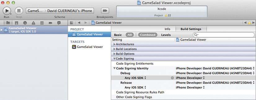 28 CHAPTER 1: Preparing the Design Environment Figure 1-26. Changing code signing Are you ready to run iosgameviewer?