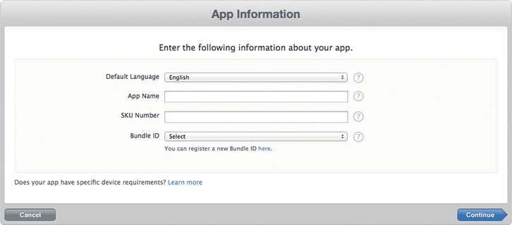 346 CHAPTER 11: Submitting Your Game to the App Store Step 2: Creating a New App Click the Add New App button shown in Figure 11-6.