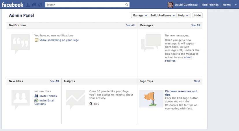 386 CHAPTER 12: Introduction to Game Promotion Figure 12-9. Your Facebook page admin panel Use this page to create a community around your game and use it to communicate with the community.