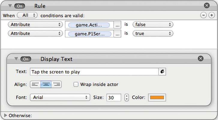 CHAPTER 3: The Pong Game Part II 85 Drag and drop a Constrain Attribute into the behavior area of the Display actor. Then select Display.Position.X and constrain it to 240.