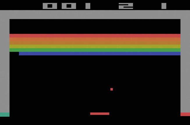 CHAPTER 4: Break a Wall Part I 89 Figure 4-2. Atari 2600 home version of Breakout A little note: The original arcade version of Breakout was manufactured with black and white screens.