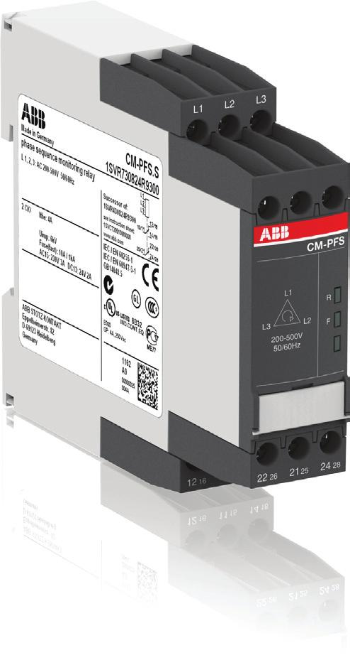 Data sheet Three-phase monitoring relay CM-PFS The CM-PFS is a three-phase monitoring relay that is used to monitor three phase mains for incorrect phase sequence and phase failure.