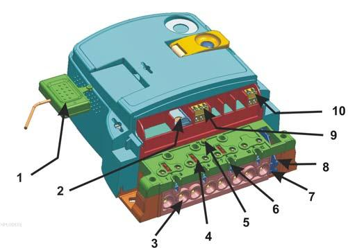 Meter technical data 13. CALL and RESET keys 14. IR optical interface Fig. 9 Meter constituent parts 1. Coupling circuit 2. SIM card bed 3. Current terminals 4. A sliding voltage bridge 5.