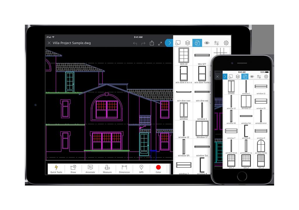 AutoCAD mobile puts essential CAD tools in an easy-to-use app so you can do real CAD work on the go.
