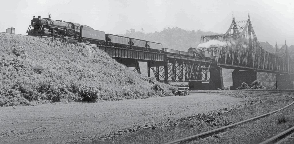 91 crosses the Ohio River between Wellsburg Tunnel in West Virginia, and Mingo, Ohio, in 1947 behind a