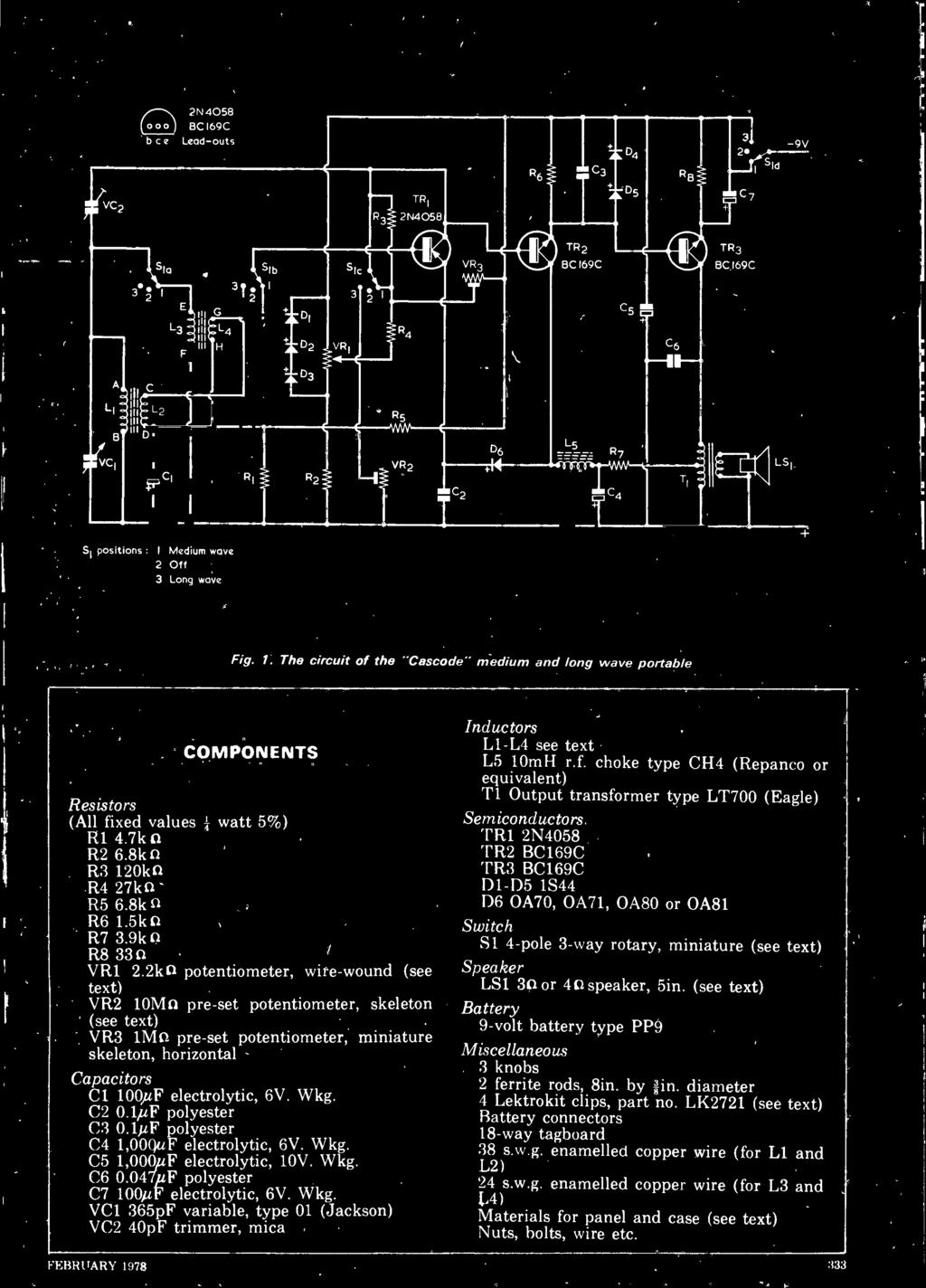 Mediumlong Wave Portable The Casc Also Featured Electronic Di Igh Music View Topic Vco 555 As Well On Thomas Henry Schematic C2 01 Uf Polyester C3 01f C4 1ooquf Electrolytic 6v