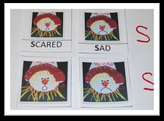 Discuss the scarecrow faces on the cards with your child. Invite the children to explain how the scarecrow might be feeling simply by looking at one of the cards.