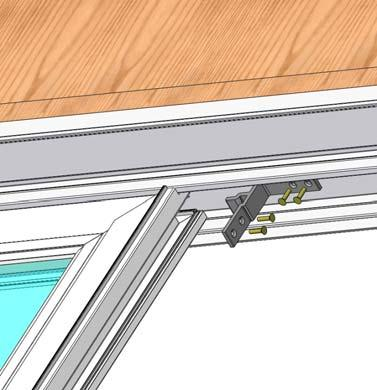 15) Place the aluminum bracket into the groove at the top of the fixed panel as shown (Fig. 23).