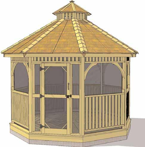 Screen Kit For Octagon Gazebo Assembly Manual Revision #11 Feb 23rd/2015 Thank you for purchasing a Screen Kit for our Octagon Gazebo. Please take the time to identify all the parts prior to assembly.