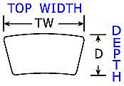"WIDTH 15/16"" THICK HO = 2-1/2"" TOP WIDTH 1"" THICK BANDED CONVENTIONAL"
