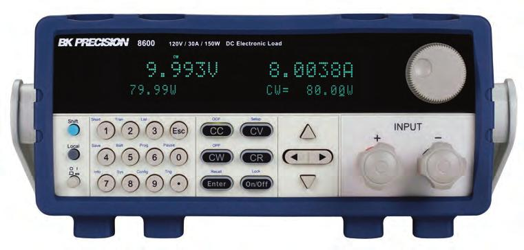Programmable DC Elecronic Load Fron panel Brigh dual-line display The display shows boh measured inpu values and se