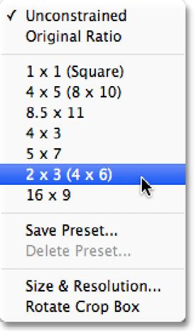 Choosing An Aspect Ratio By default, Photoshop CS6 lets us drag the handles freely in any direction so we can reshape the crop box into any size we need.