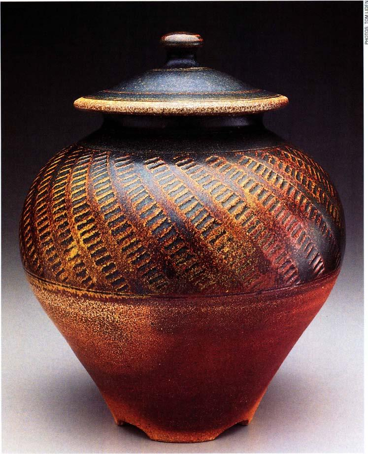 Footed jar, 12 inches in height, wheel-thrown stoneware,