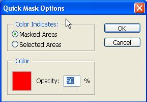 By default, Quick Mask mode colors the protected area using a red, 50% opaque overlay. 3. To edit the mask, select a painting tool from the toolbox.