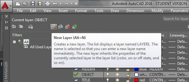 3. Click the New button. A new layer named Layer1 appears at the bottom of the list.