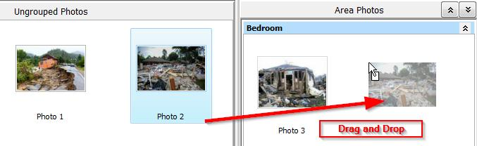 Move Photos from Ungrouped to an Area a. Select an Image in the Ungrouped Photos section. Then click on the photo and drag it to the corresponding area. b.