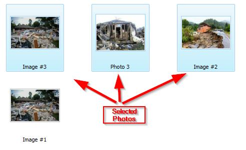Holding the Shift key, multiple photos can be selected by clicking a photo and then clicking on another photo.