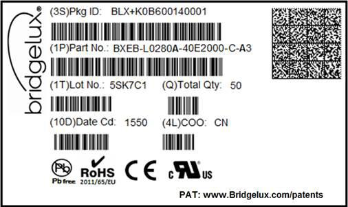 4 cm n/a 134 cm x 43.5 cm x 18 cm Figure 17: Product Labeling Bridgelux EB Series modules contain a label on the front to help with product identification.