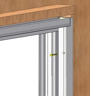 Once in the opening, shim frame so that it is plumb, level, and square. Attach frame to opening using provided #10 X 2-1/2 installation screws.