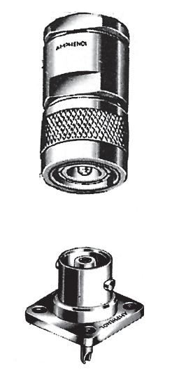 C Plug (top) C - The C (Concelman) coaxial connector is a medium size, older type constant 50 impedance.