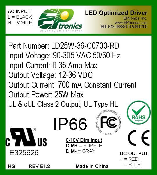 25W LED Optimized Drivers 30 25 Watt - LD30W CONSTANT CONSTANT VOLTAGE VOLTAGE OR CONSTANT OR CONSTANT CURRENT CURRENT LED DRIVER LED WITH DRIVER WITH DIM- MING Constant Voltage Versions Part Number