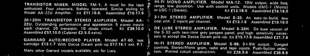 De luxe version of the S -33 with two -tone grey perspex panel, and high sensitivity necessary to accept the Decca Deram pick -up. Kit 15.17.6 Assembled 21.7.6 HI -FI STEREO AMPLIFIER. Model S -99.