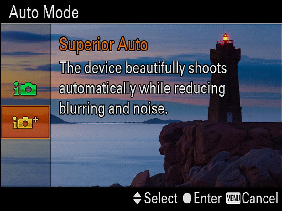 Chapter 3: Shooting Modes for Still Images 23 Two of the settings the camera may use in Superior Auto mode Anti Motion Blur and Hand-held Twilight are available also as selections in Scene mode,