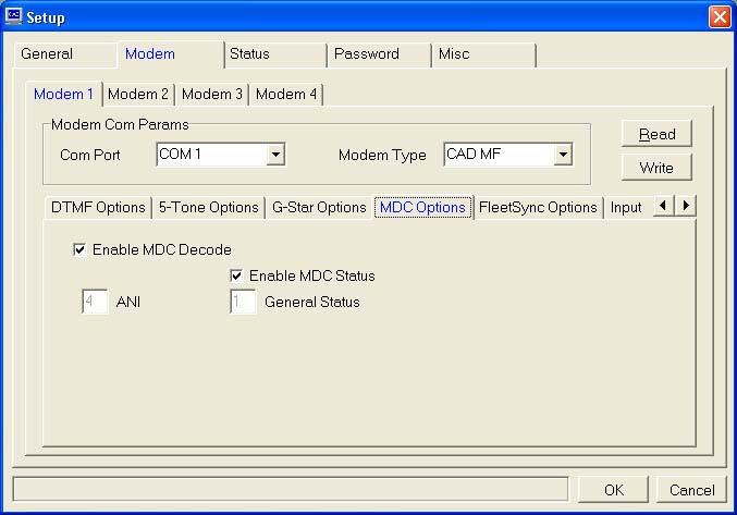 G-Star Options Tab: Enable G-Star Decode: If you wish to decode G-Star in the CAD-MF check this box and complete this tab.