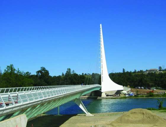 Is it a bridge or a sculpture? The Turtle Bay Sundial Bridge, designed by the worldrenowned Spanish architect/engineer Santiago Calatrava is both.