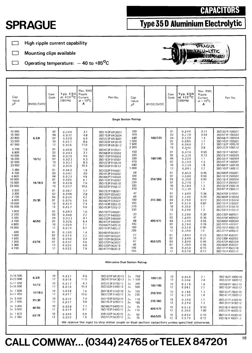 comway ELECTRONIC COMPONENTS CATALOGUE electronics limited TENTH ...