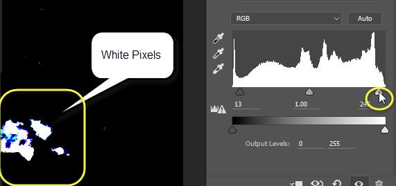 Now, do the same with the white slider, press and hold the alt key while dragging the white point to the left. When pixels appear that are completely white, they will show up as white on the screen.