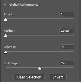 Global Refinements The Global refinements section will allow users to shift the selection edge in or out by sliding one or more, of the following sliders.