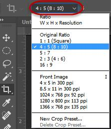Specific size cropping If you have an image that you want to crop to be a specific size, or ratio, you can watch the size as you are cropping your image, or from the options bar, you can select the