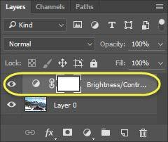 When you click on the brightness/contrast adjustment layer, you will see the brightness/contrast panel open.