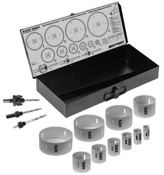 Hole Saw Kits Hole Saw Kits Electrician s Hole Saw Kit Contains the most popular sizes for basic electrical work. All components are packed in a rust-proof, molded plastic carrying case. 31630 2.